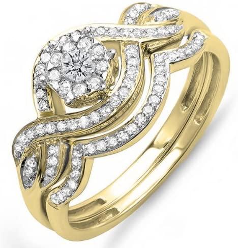 Dazzlingrock Collection 0.40 Carat (ctw) 18k Gold Round Diamond Ladies Bridal Ring Engagement Matching Band Set