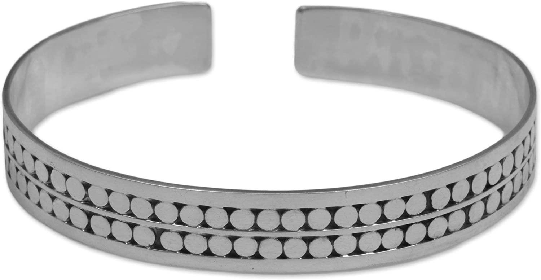 NOVICA 925 Sterling Silver Cuff Bracelets, Subtle Beauty'