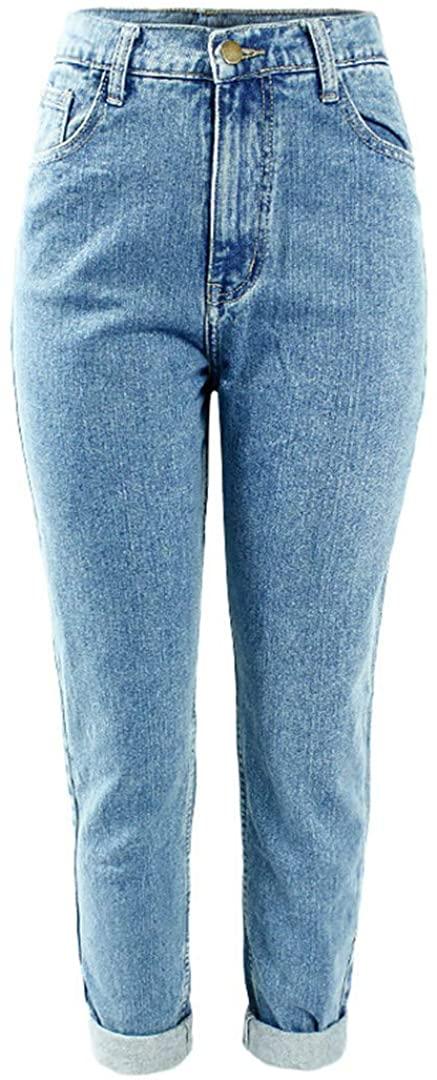 Women`S Plus Size Waist Washed Light Blue True Denim Pants Boyfriend Jean