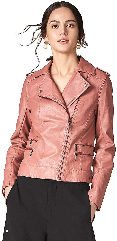 Escalier Womens Faux Leather Jackets Long Sleeve Zipper Short Moto Biker Coat