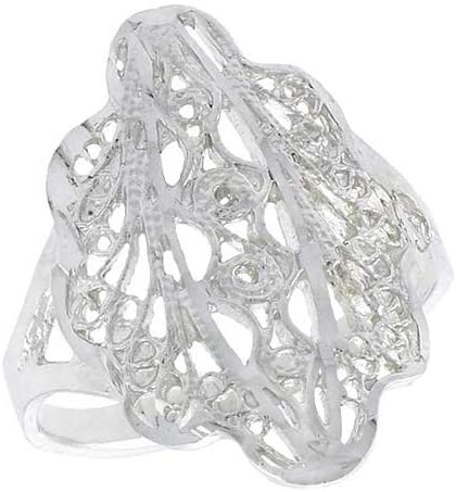 Sterling Silver Fancy Filigree Ring, 3/4 inch