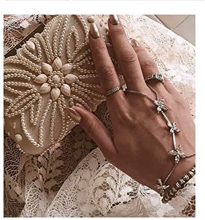 Blufly Rhinestone Knuckle Rings Silver Flower Ring Bracelets Daisy Ring Chain Crystal Boho Joint Ring Jewelry for Women and Girls