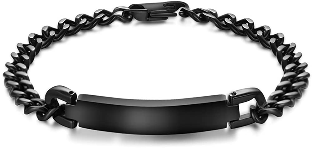 PJ Personalized Custom Engraving Plain Stainless Steel ID Bracelets for Men Women, Name Plate Identity Bracelet