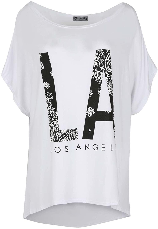 Oops Outlet LA Print Oversized Off Shoulder Bardot Baggy Batwing Lagenlook Top