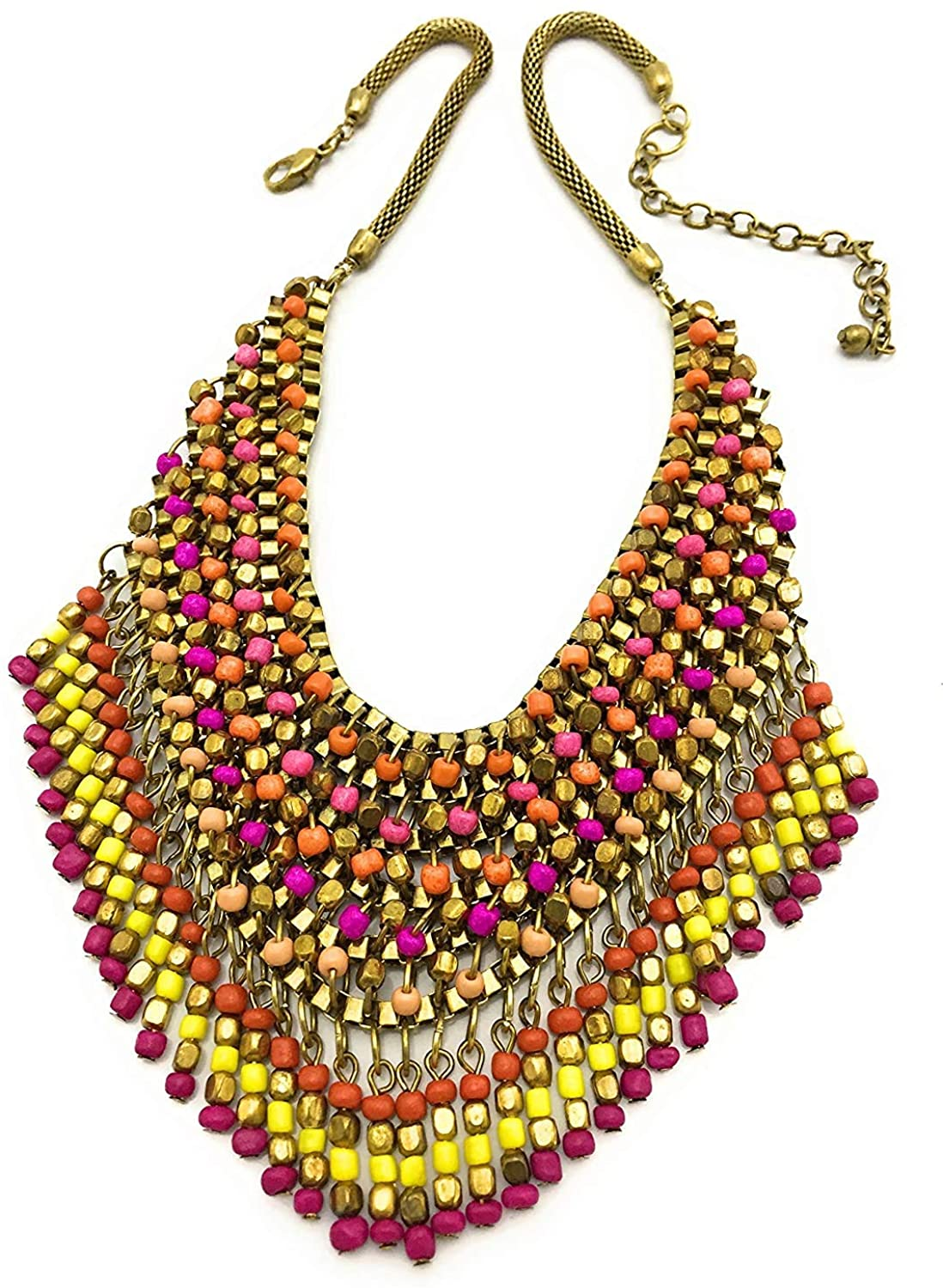 ISHVAKU Statement Beaded Necklace for Women in Multi Color
