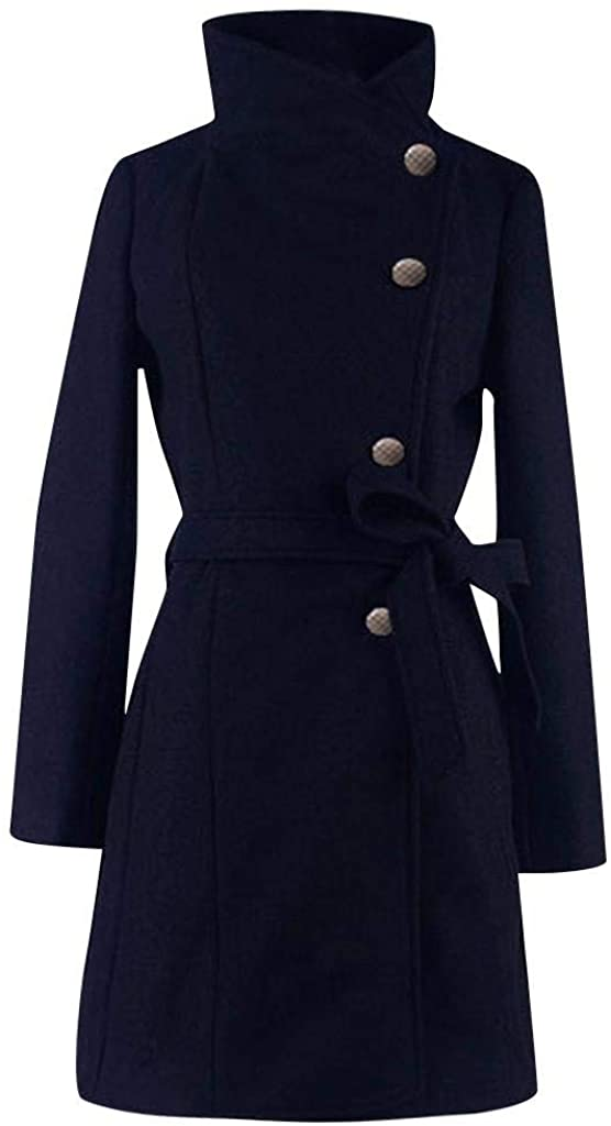 terbklf Women's Single-Breasted Slim Solid Thick Jacket Winter Pea Coats for Women Long Outwear with Pockets and Belt Navy