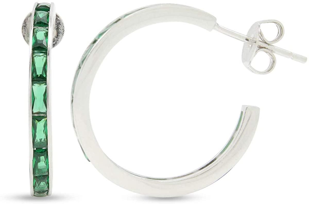 Simulated Emerald/Cubic Zirconia Hoops Earrings, 925 Sterling Silver Huggie Earrings Half Hoops Sensitive Ears Cute Gifts for Women