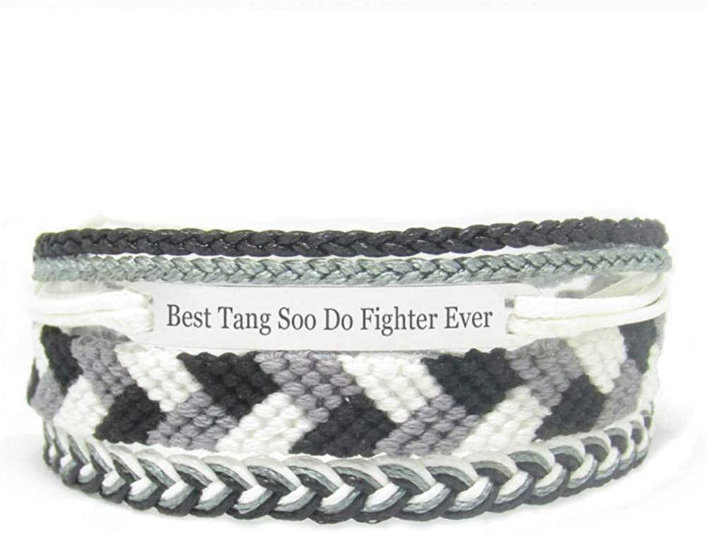 Miiras Handmade Bracelet for Women - Best Tang Soo Do Fighter Ever - Black 5 - Made of Embroidery Thread and Stainless Steel - Gift for Tang Soo Do Fighter