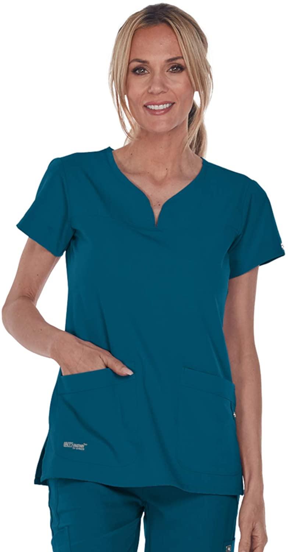 Grey's Anatomy Signature Women's Two Pocket Notch Yoke Neck Scrub Top, Bahama Blue, X-Small