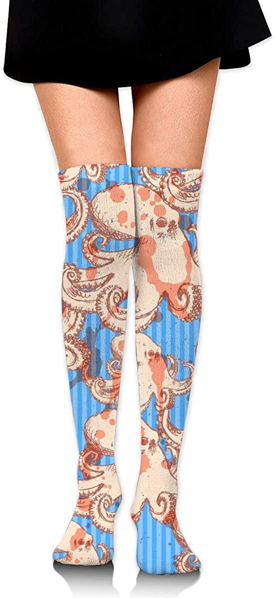Dress Socks Ocean Octopus Sea Nautical Stripe High Knee Hose Hold-Up Stockings