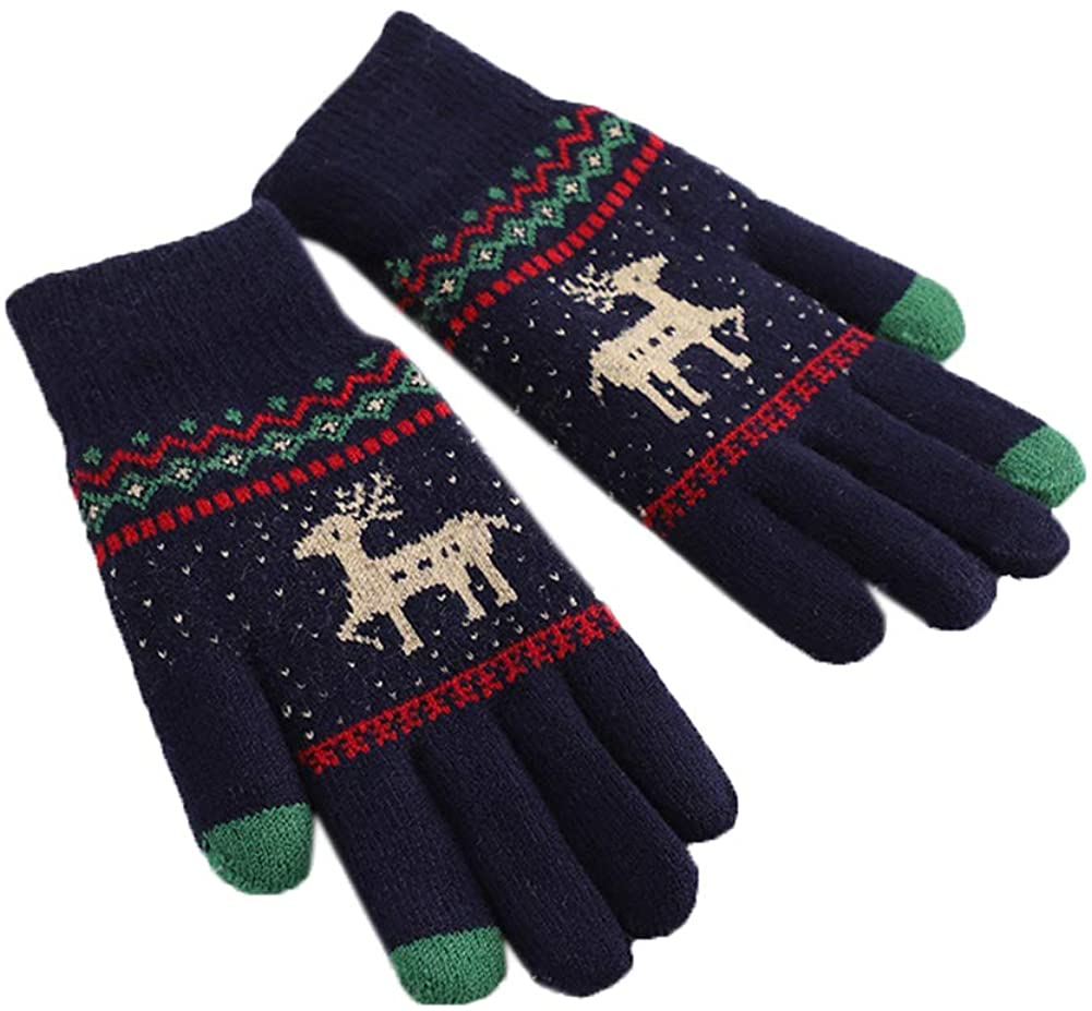 Women Lovely Gloves Winter Warm Full Finger Gloves Cycling Knitted Wool Gloves Cold Weather Gloves
