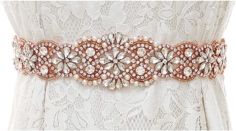 Weztez Wedding Sash Belt With Rhinestones Bridal Sash Belt Crystal Dress Sash for Wedding Dress Gown