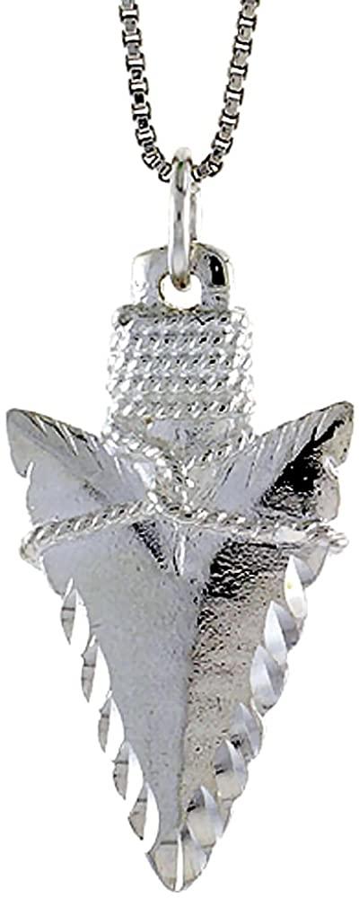 Sterling Silver Arrowhead Pendant, 1 1/4 inch Tall