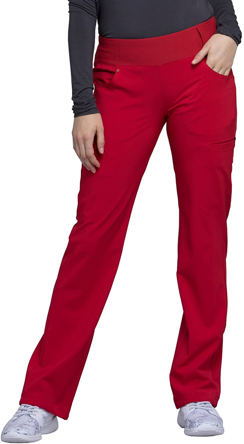 CHEROKEE iflex Mid Rise Straight Leg Pull-on Pant, CK002, XXS, Red