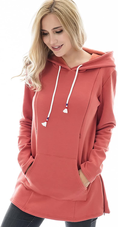 Bearsland Women's Maternity Sweater Clothes Nursing Sweatshirt Breastfeeding Hoodie with Pockets