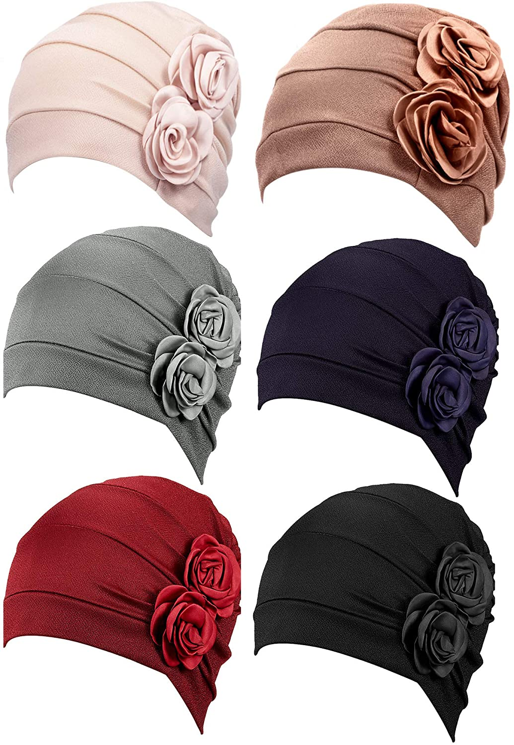 6 Pieces Women Turban Flower Caps Elastic Beanie Headscarf Vintage Headwrap Hats(2 Flowers Style)
