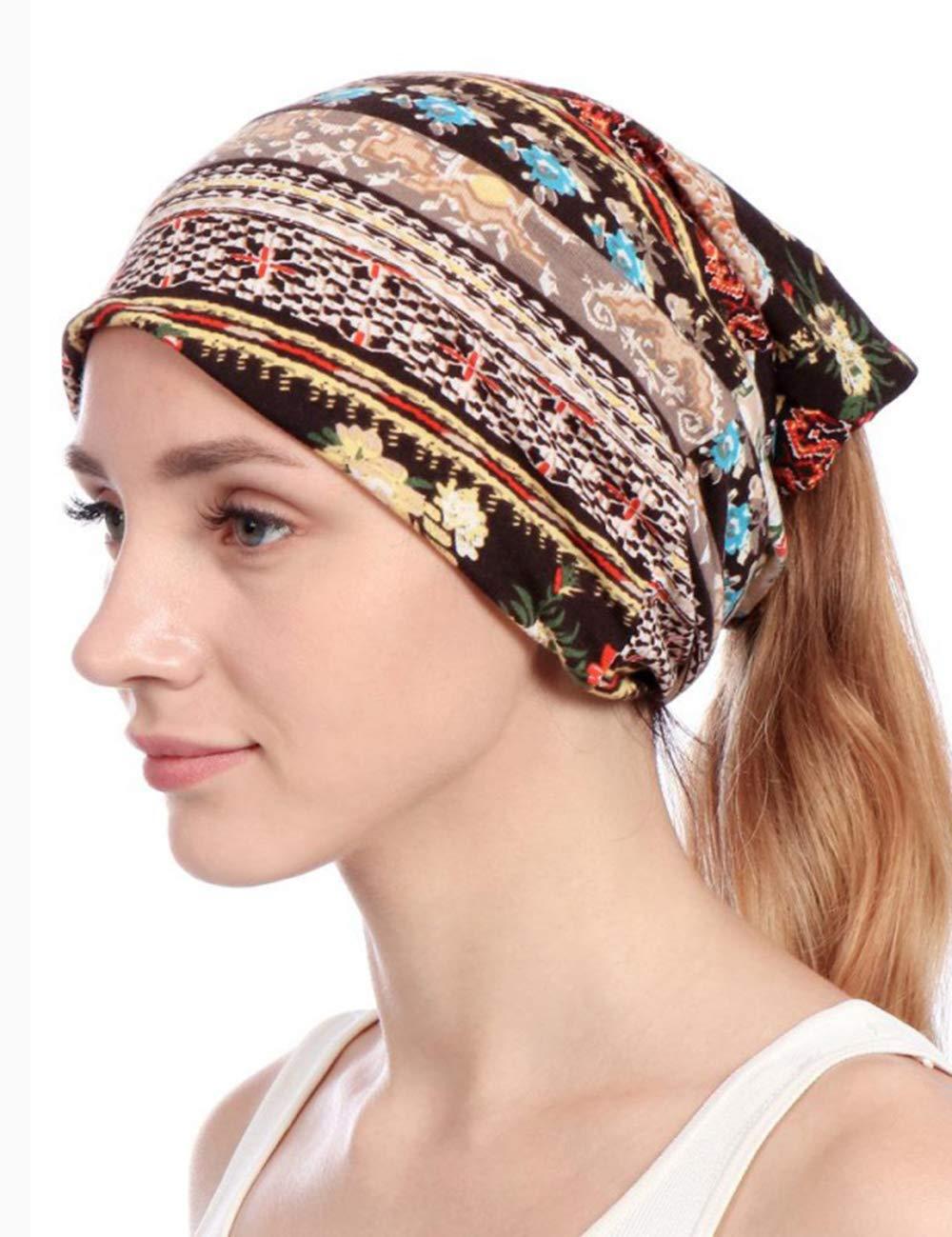 Harewom Beanie Ponytail Hat for Women Chemo Hats for Women for Summer Brown
