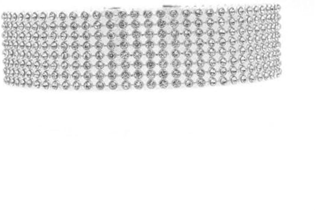 AYIYO Bling Bling 2.5cm Wide Rhinestones Chain Necklaces Tattoo Choker Statement Jewelry