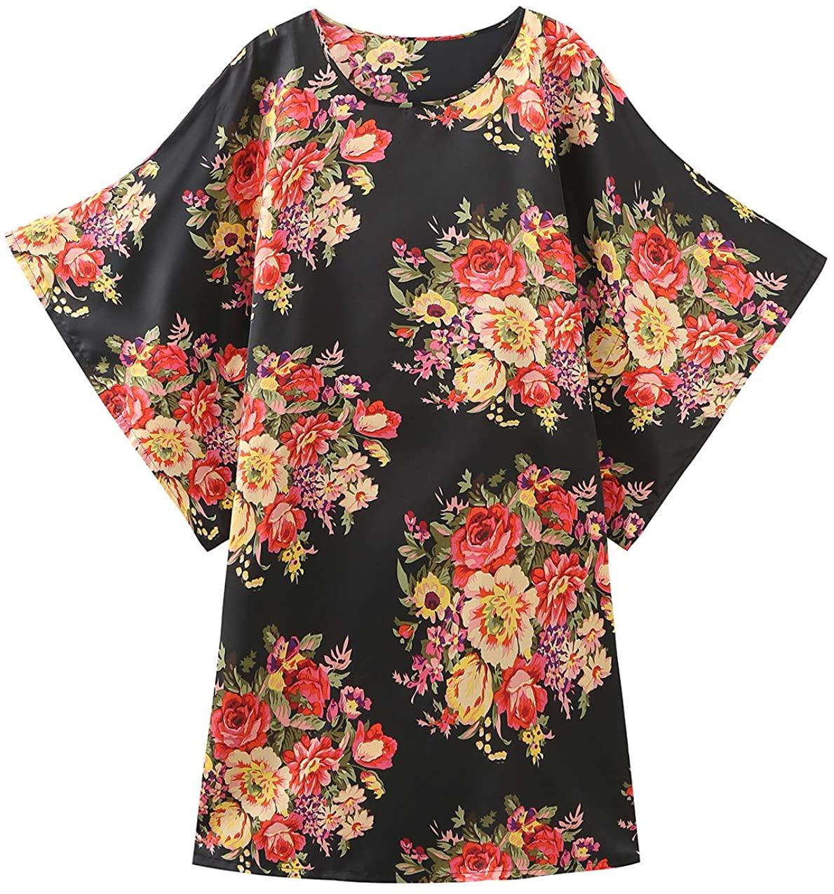 Women's Floral Kimono Robes Satin Plus Size Lightweight Loose Bathrobes for Women