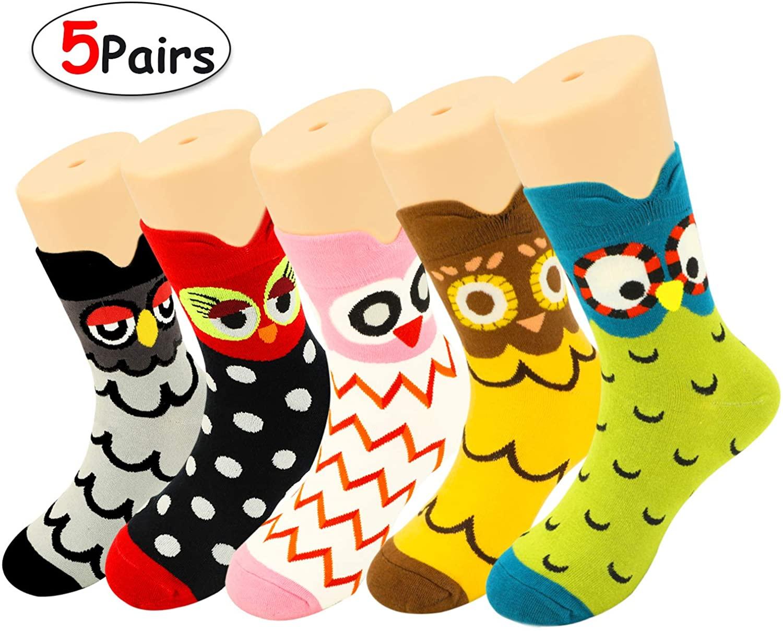 HOWAF 5 Pairs Cute Animals Cotton Socks for Women Girls, Funny Owl Pattern Socks Warm Winter Novelty Socks Pack for Women Ladies Girls Winter Stocking Fillers