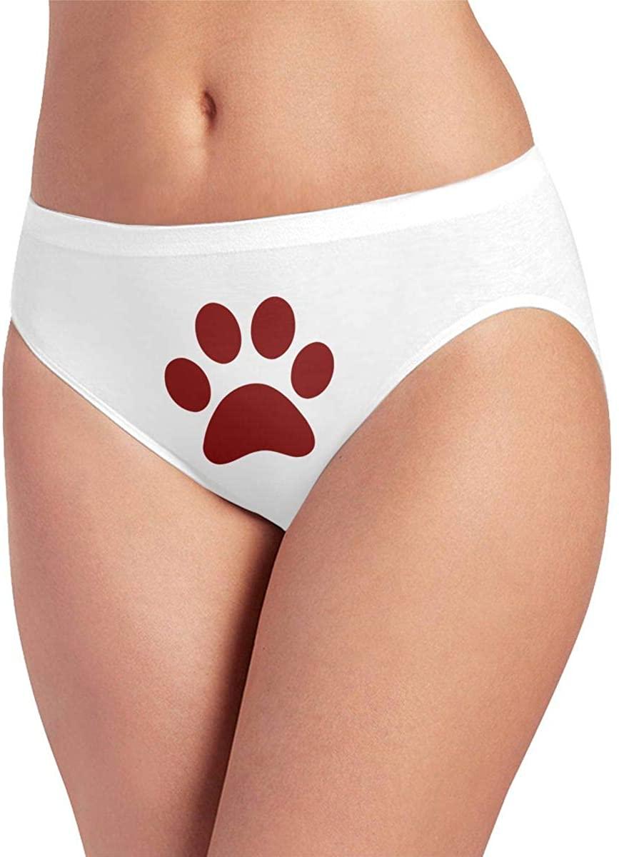 Women's Seamless Ice Silk Panties No Panty Line Briefs Hipsters Cat Paw Clip Art Underwear