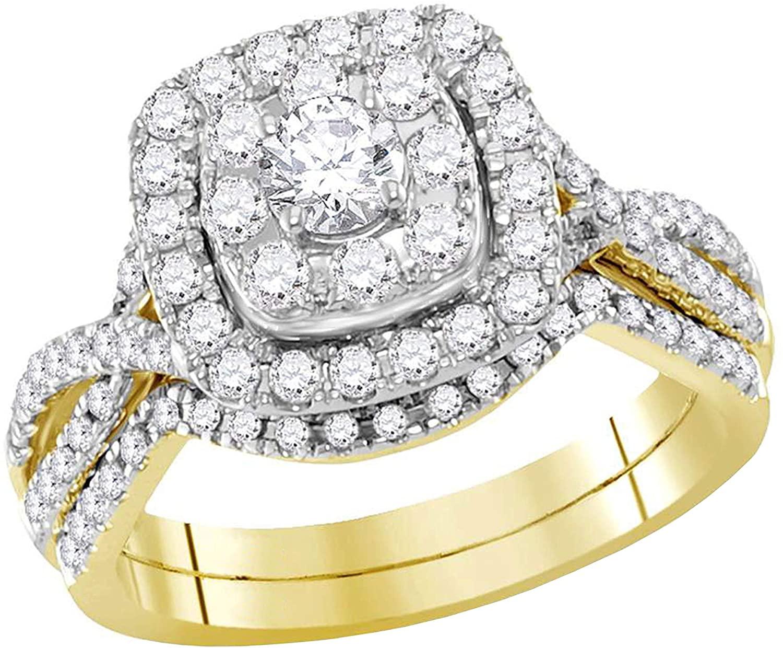 Dazzlingrock Collection 0.99 Carat (ctw) Round Diamond Halo Bridal Wedding Ring Set 1 ctw, 14K Yellow Gold