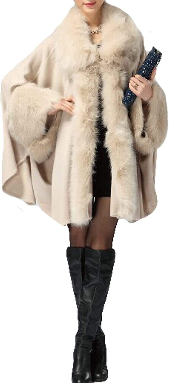Womens Faux Fox Fur Shawl Cloak Coat- European American Style Cardigan Jacket