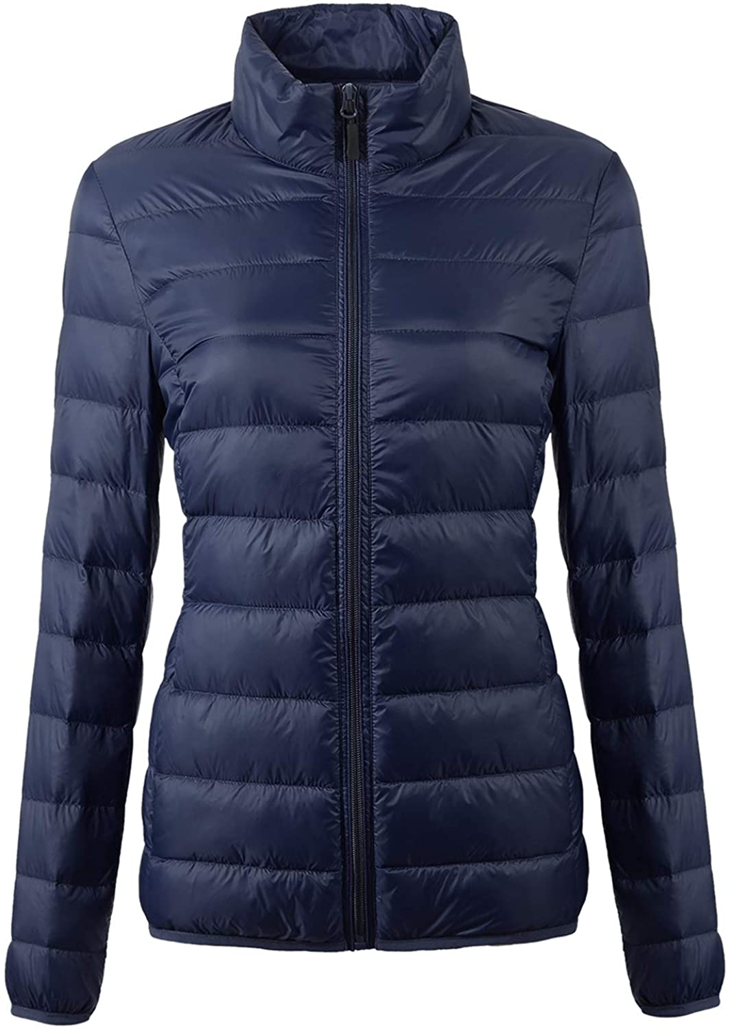 EQUICK Womens Packable Puffer Down Jacket Ultra Light Weight Short Coat with Travel Bag U219WYRF027,Navy,S