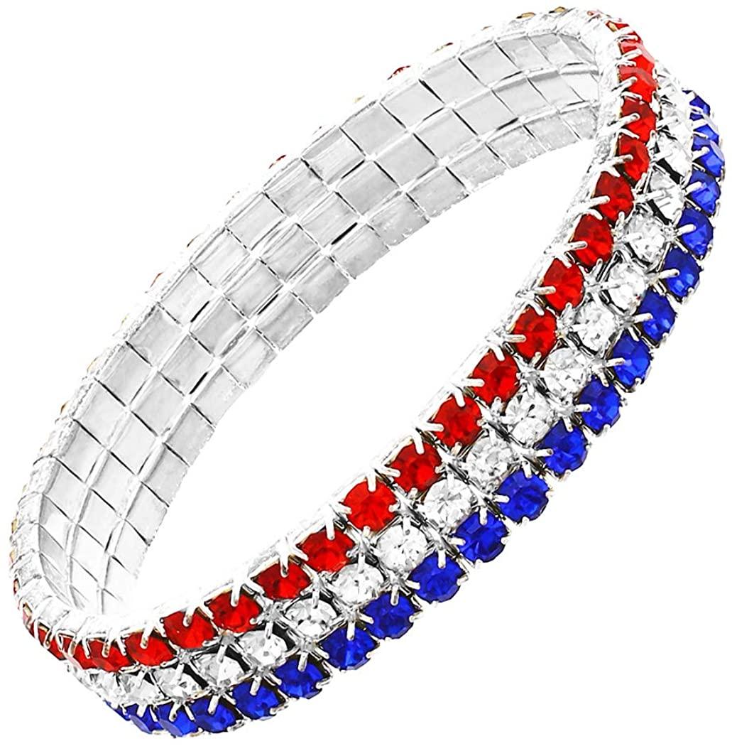 Rosemarie & Jubalee Womens Red White and Blue Patriotic Statement Stretch Rhinestone Bracelet