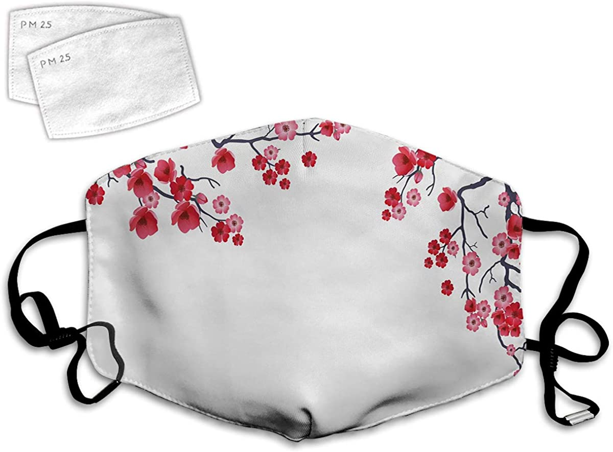 Multi Usage Face Cover UP Illustration of Flowering Branch Sakura Traditional Floral Artwork Print Balaclava Reusable Windproof Mouth Cover with 2 Filter