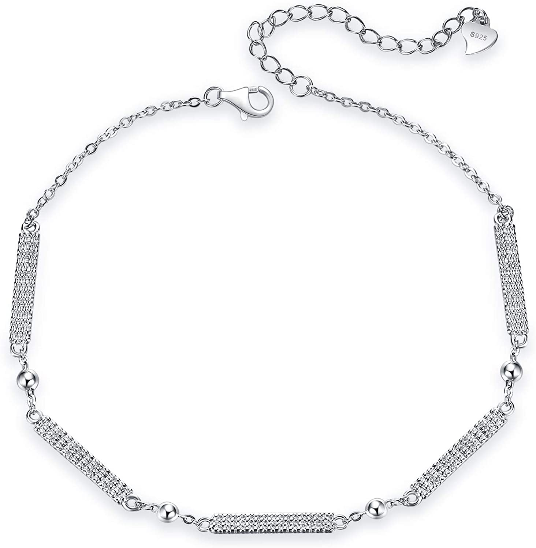 Bar Anklets Sterling Silver Hammered Chain Anklets Dainty Link Ankle Bracelets for Women Teen Girls