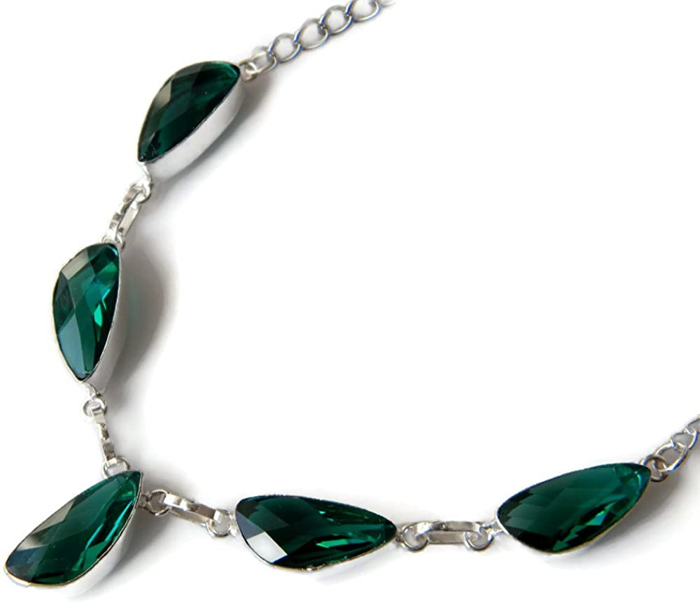 Green Quartz Necklace, Silver Plated Chain Necklace, Women Necklace, Brass Necklace AH-7656