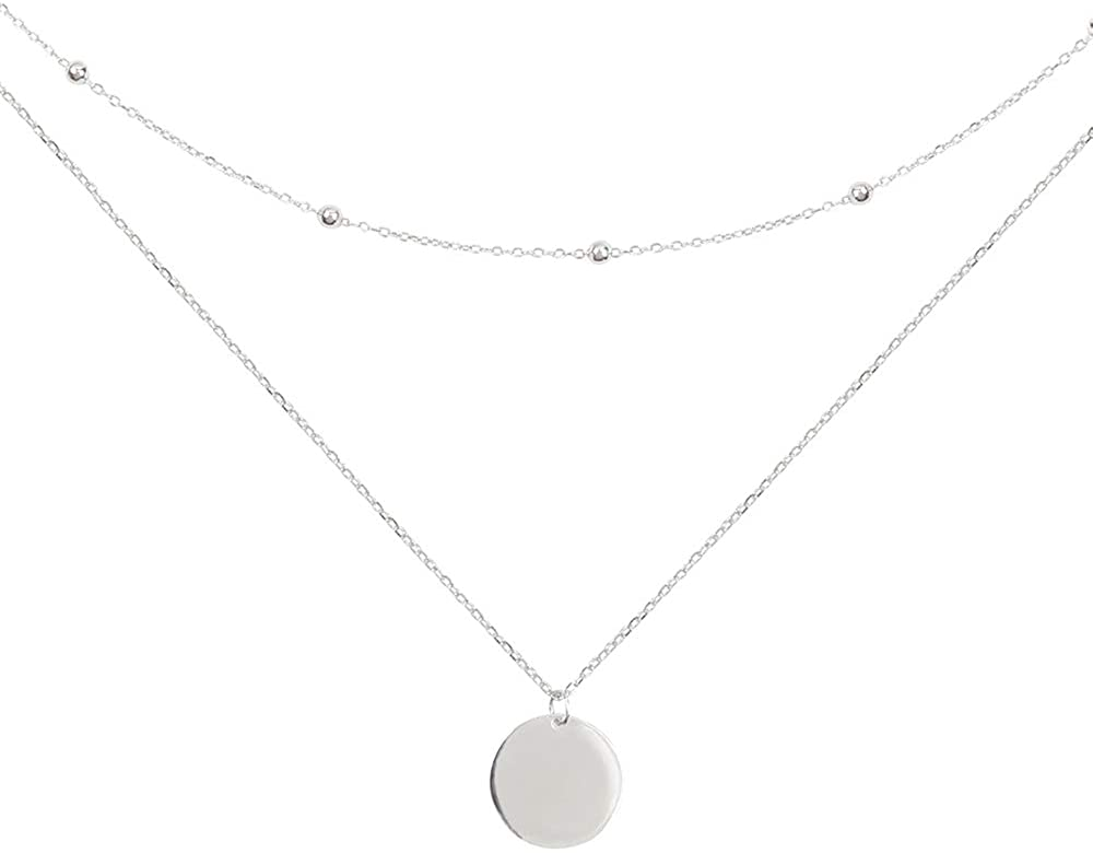 Layered Disc Pendant Choker Necklace for Women Girls 925 Sterling Silver 18K Gold Dainty Full Moon Circle Coin Collar Two-Double Chain Fashion Y Jewelry Gifts Box Birthday Wedding