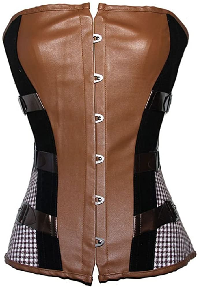 JJ-GOGO Brown Strapless Sexy Steampunk Faux Leather Corset
