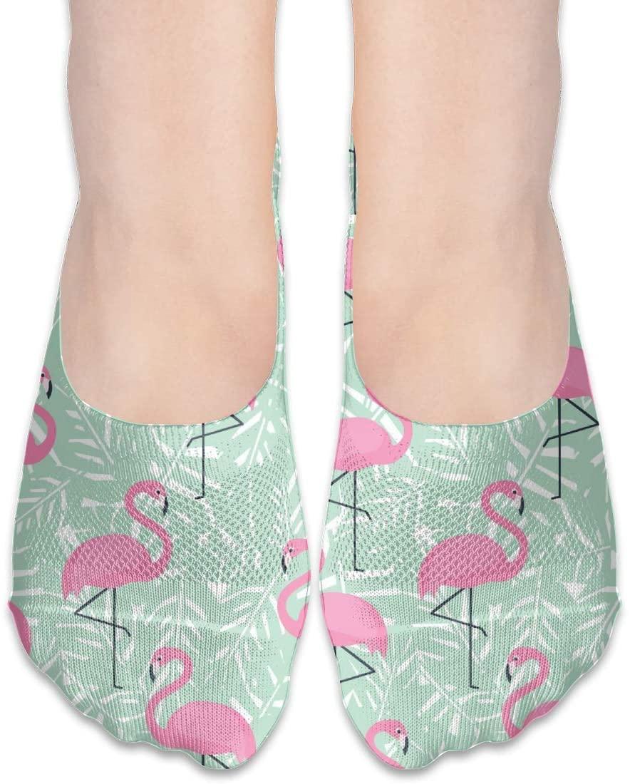 FriendEver No Show Socks,Flamingos Casual Invisible Flat Socks,Breathable Anti-Odor Low Cut Women Cotton Sox,Non Slip Liner Sock