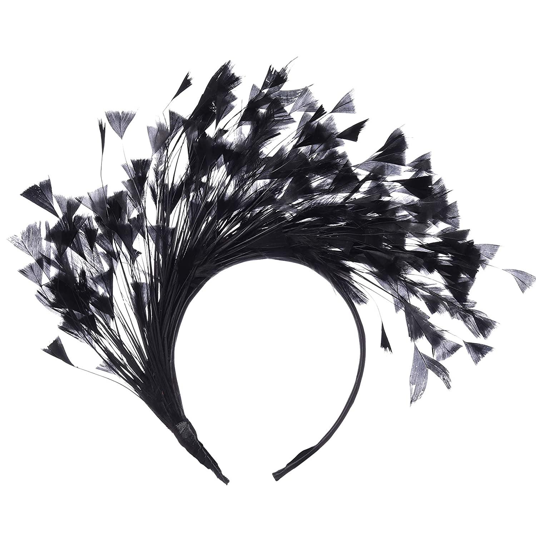 BABEYOND 1920s Fascinator 20s Gatsby Feather Headband Kentucky Derby Headpiece for Cocktail Wedding Tea Party (Black)