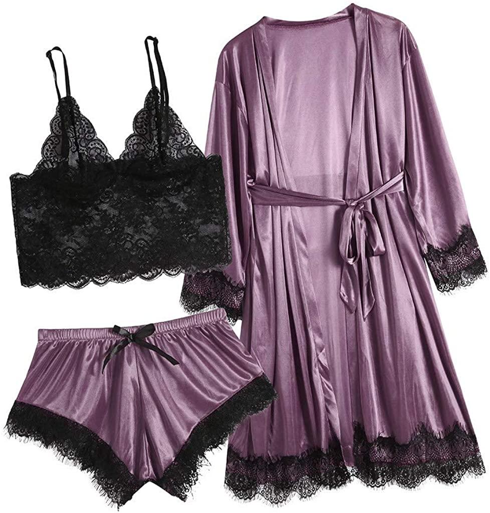 iQKA Women Sexy Lace Lingerie Nightwear Underwear Sleepwear Dress 3PC Suits Plus Size Solid Color Lace Robe Pajama Sets