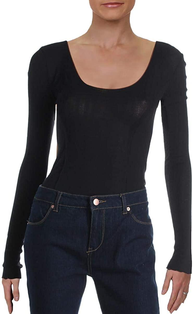 Intimately Free People Womens Nikita Scoop Neck Ruffled Bodysuit Black M