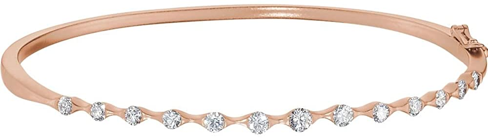14k Rose Gold 1 Dwt Polished Diamond Cuff Stackable Bangle Bracelet Jewelry Gifts for Women