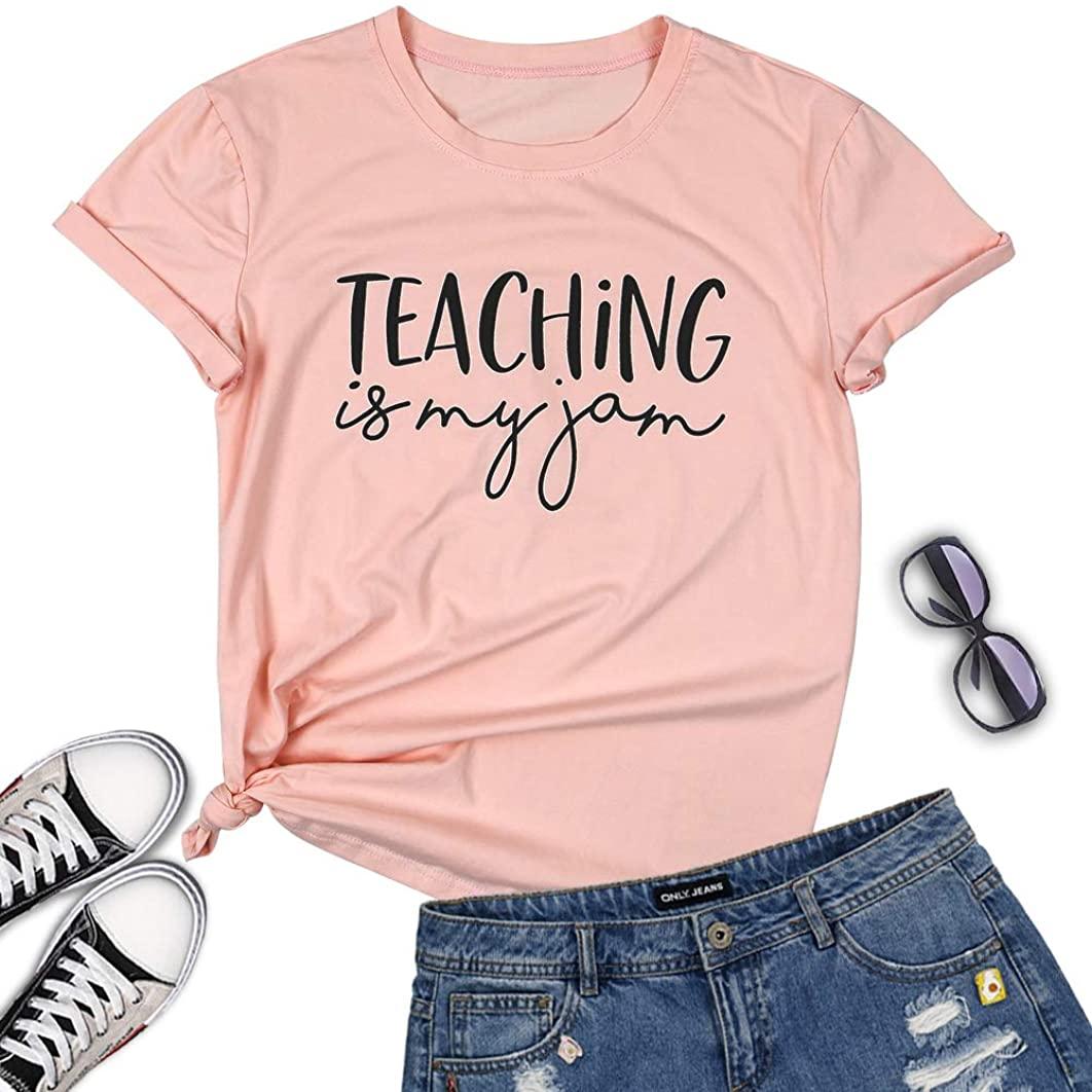 Teaching is My Jam Shirt Women Funny Teacher T Shirts Letter Print Casual Short Sleeve Tees Tops