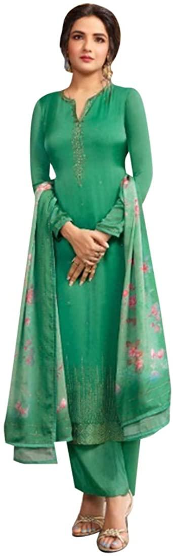 Indian Diwali Party wear Satin Georgette Sawrovski work Salwar Kameez Printed Dupatta Indian Women Suit Semi-stitch 8628