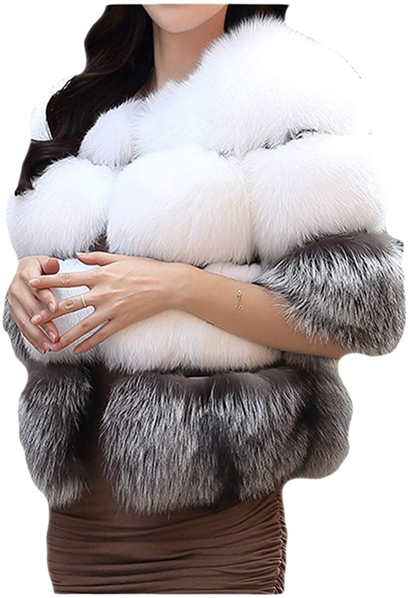 Women's Faux Fur Short Peacoat Shaggy Long Sleeve Open Front Chunky Overcoat for Work Daily