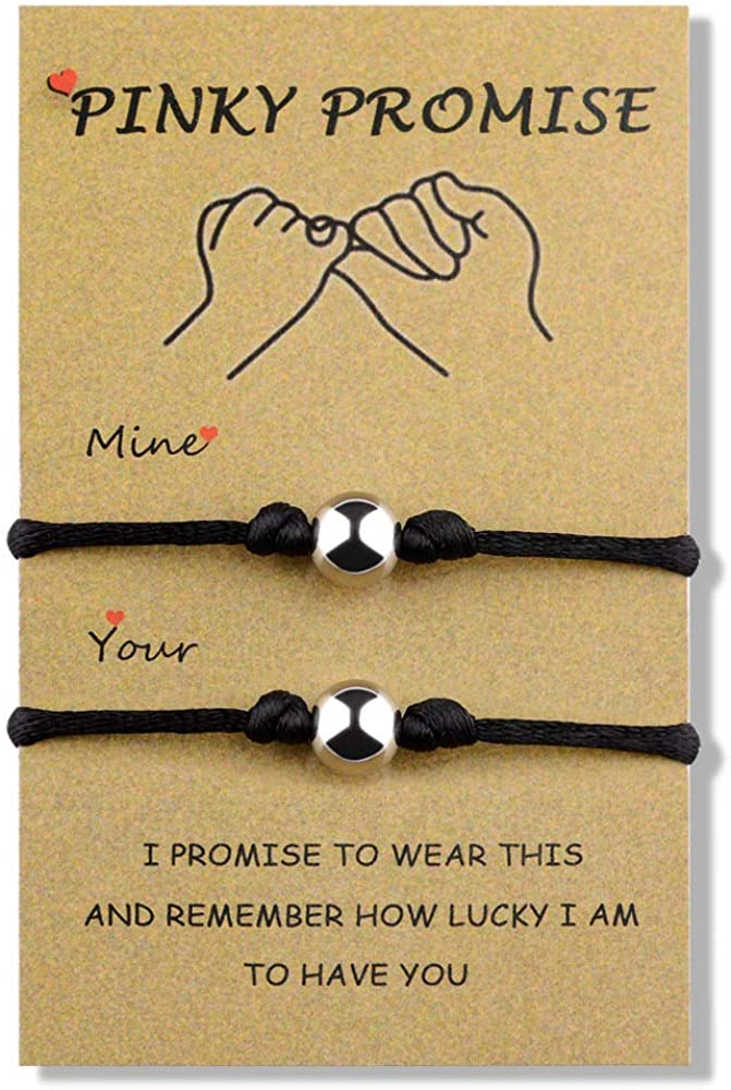 BOCHOI Pinky Promise Distance Matching Bracelets for 2 BFF Couples Friendship Adjustable Cord Relationship Bracelets Him Her Girlfriend Boyfriend Mother Daughter