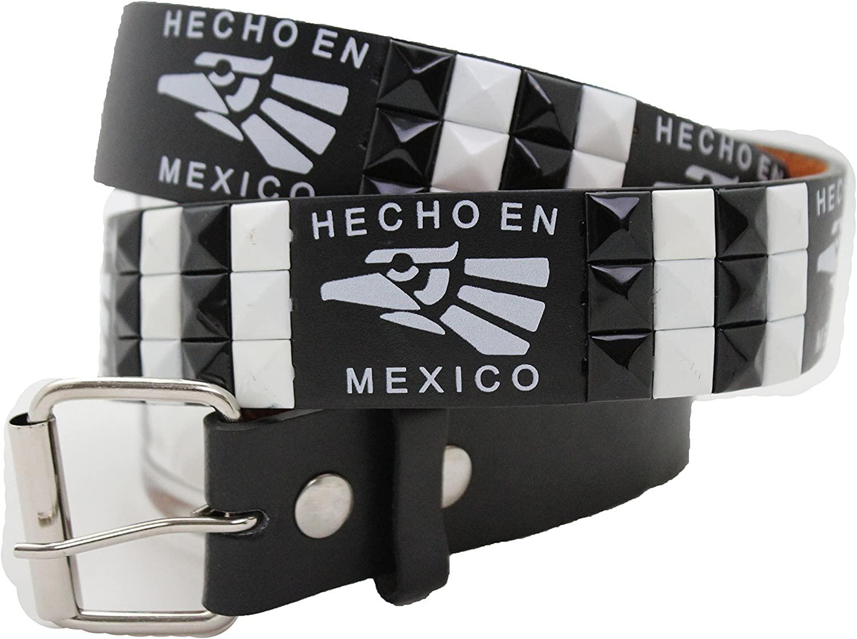 TFJ Women Men Western Black Belt White Studs Hecho En Mexico L