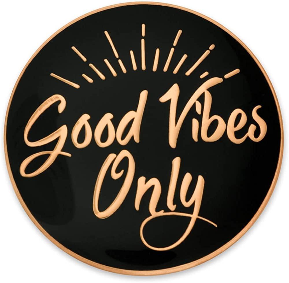 PinMart Good Vibes Only Motivational Cute Enamel Lapel Pin