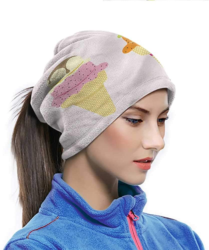 Neck Gaiter Ice Cream, Yummy Cold Dessert Cones Sundust-proof Bandanas Use for Daily Things 10 x 11.6 Inch