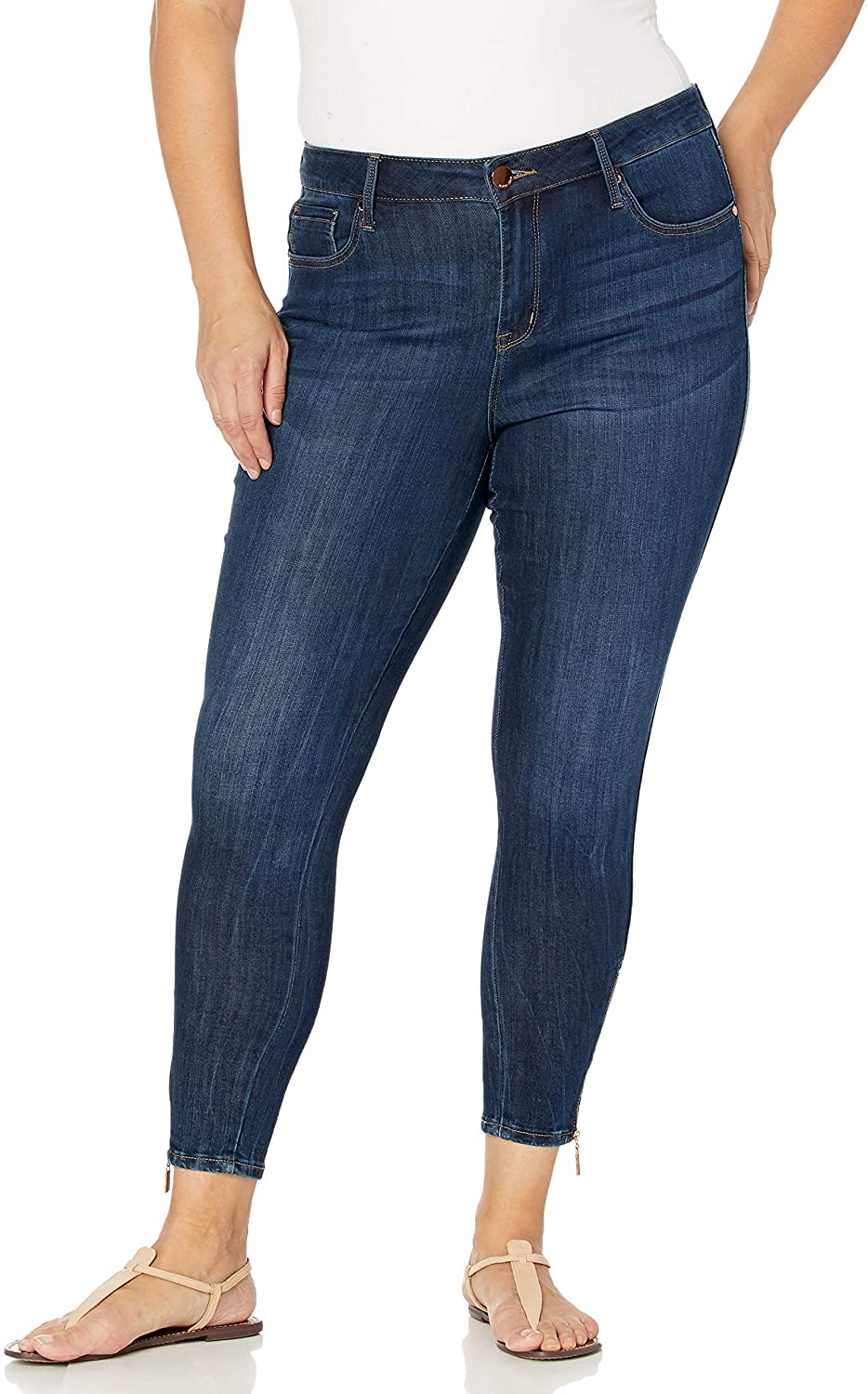 Seven7 Women's Plus-Size Mid Rise Signature Ankle Skinny