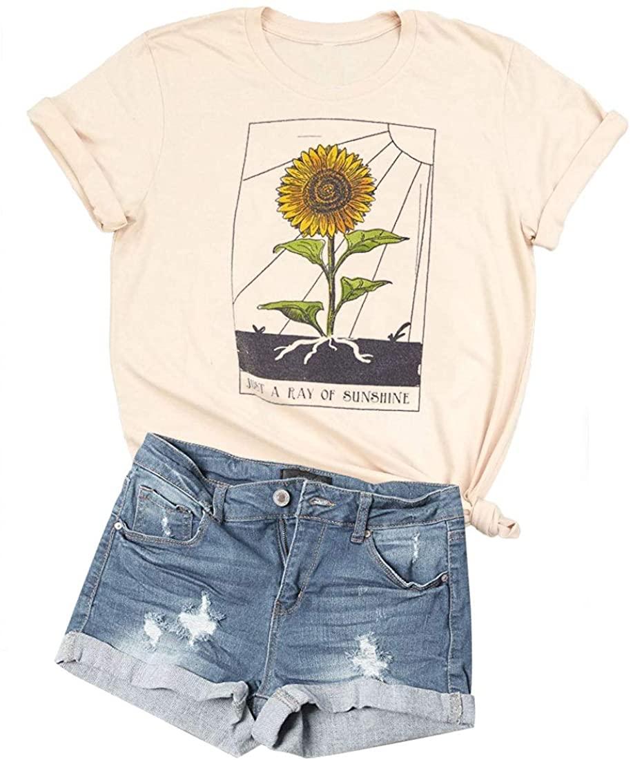 Womens Sunflower Just Ray of The Sunshine T-Shirt Women Summer Tee Teen Girls Casual Tops