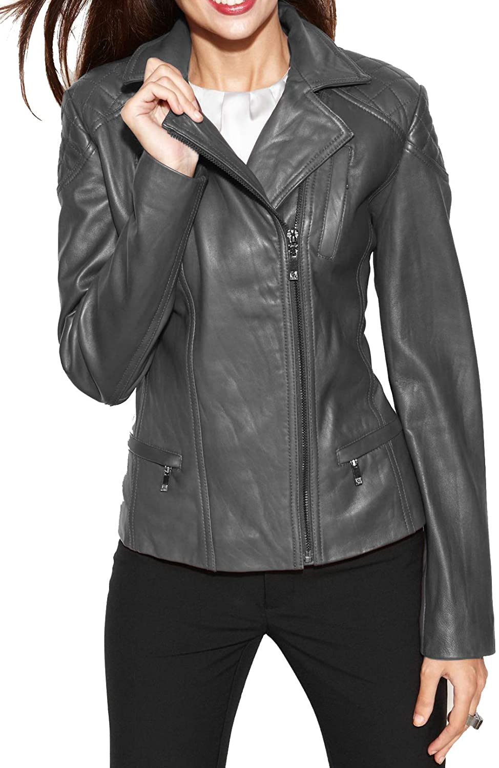 SKINOUTFIT Women's Leather Jacket Stylish Motorcycle Biker Genuine Lambskin 80