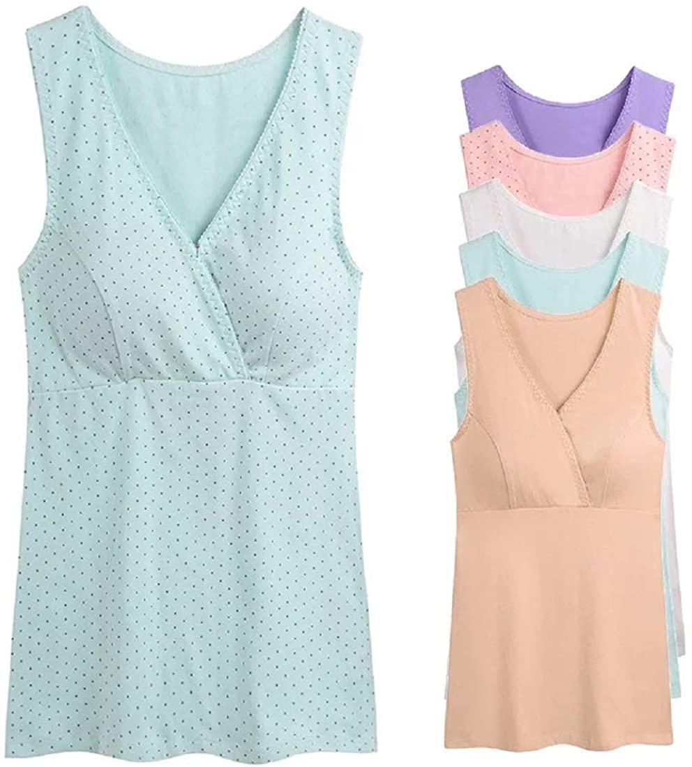 MIXZONES Maternity Nursing Tank Top, Women Maternity Pajama Tops Nursing Cami Sleep Bra for Breastfeeding